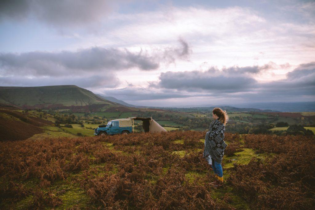 Land Rover Tent matt sand Finn Beales Welsh Mountains
