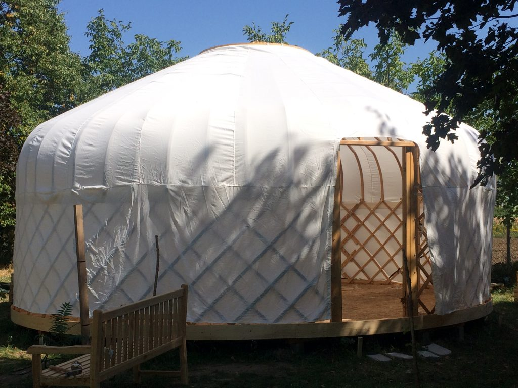 Yurt frame with white cotton liner