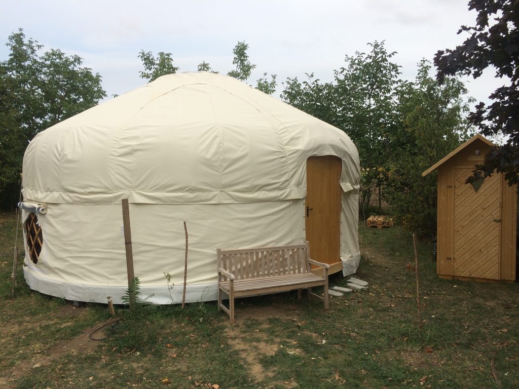 White bentroof yurt, ready for glamping